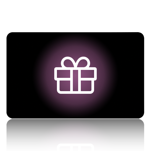 Black card with a purple gift wrapped in white ribbon