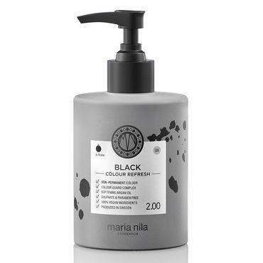 Maria Nila colour refresh bottle with black pump. Black hair colour