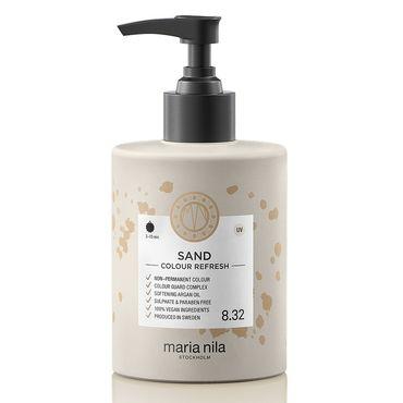 maria nila colour refresh bottle with black pump. hair colour sand