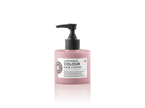 Luminous colour leave-in lotion by Maria Nila. The image shows a pink bottle with white label and black pump action applicator top.